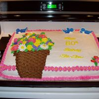 Flowers In A Basket-Weave Vase Cake Here is a picture of a 1/2 sheet cake that I did for my Grandmother's 80th birthday. I used the buttercream frosting. I had made my...