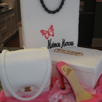 Shopoholic's Birthday Dream Neiman Marcus shopping bag, Coach shoe box, Channel purse and Fancy Shoe