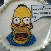 Homer B-Day Cake VANILLA CAKE WITH CRUSTED VANILLA BUTTERCREAM - FIRST PIN -PRICKED TRANSFER IMAGE. MADE FOR MY LITTLE BROTHER WHO I CALL MR. MOM AS HE...