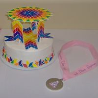Quilters Star Pattern  This was my first enterance in a cake show and I won 2nd place! It is all done in color flow on buttercrean icing. Susan O'Boyle-...