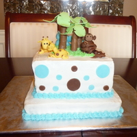 Jungle Baby Shower Lemon cake with lemon buttercream frosting jungle mama and baby themed cake for a friend's baby shower. All decorations are...