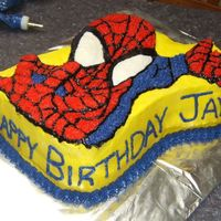 Spiderman Birthday Cake I made this cake for a coworker's son's 2nd birthday. Iced in buttercream icing. The yellow gave us a hard time but it worked out...