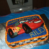 Lightning Mcqueen Cake I made this cake for my son's 4th birthday. It is a candy plaque on top (made out of wilton candy melts) and the rest of the cake is...