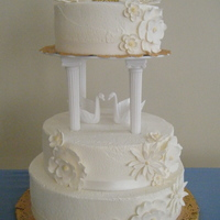 50Th Anniversary Cake Buttercream with gum paste flowers.
