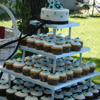 Cupcake Wedding Cake This was my first attempt at a Cupcake Wedding cake. They are yellow and chocolate cake, iced with buttercream and decorated with fondant...