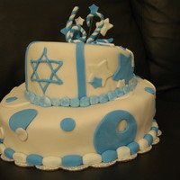 Israel's Independence Day Cake First time doing a topsy turvey cake.....
