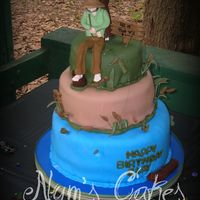 Fishin' vanilla with buttercream covered in fondant...gumpaste accents