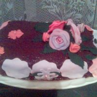 Brownie Cake A brownie cake decorated as aniversarry cake with roses