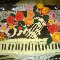 Piano Cake Piano cake made by sponge cake and mascarpone cream for my mother in law on 26 march 2006.It was decorated with martipan roses.