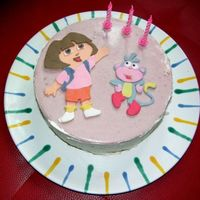 Dora And Boots   My daughter's birthday cake: strawberry cream and Dora and Boots made of fondant (MTT)