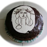 Picasso Cake   chocolate cake with nuts and a drawing from picasso (chocolate transfer)