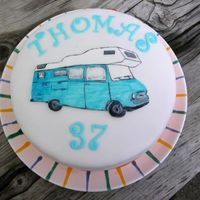 Motorhome / Wohnmobil Opel Blitz  A picture of our 1964 Opel Blitz motorhome fpr my husband's birthday. Inside it's biscuit with extra dark chocolate buttercream,...