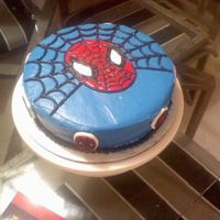 Spider-Man Yellow cake with buttercream icing.