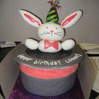 "Magic Hat Cake With Rabbit This cake loosely matches the invitation. Rabbit-in-a-hat. Cake is 3 8"" round layers red velvet (using Margie's Incredible..."