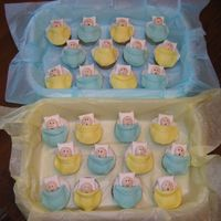 "Fondant ""baby"" Cupcakes My version of the idea presented in Wilton's 2005 Yearbook.I painted the faces with edible markers and added rosy cheeks with glitter..."