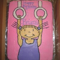 Gymnastics Cake This is a white cake with bc icing. I had to do it freehand because I was pressed for time. the birthday girl loved it. Thanks Courtney118...