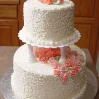 Wedding Cake With Pink Fondant Roses