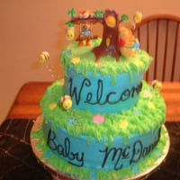 Pooh Bear  A friend wanted a Pooh Bear themed shower cake, I found this topper and just went from there. Cake is marble with BC icing and RI flowers,...