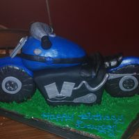 Motorcycle This was a interesting cake to make. The wheels, handlebars and fuel tank are RCT covered with MMF. The body of the motorcycle is cake.