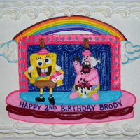 Sponge Bob & Patrick Cake freehanded in buttercream on 3/4 sheet