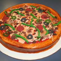 Deep Dish Pizza Cake All buttercream, airbrushed, fondant toppngs