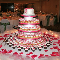 "Wedding Mini Cupcakes 6"" top tier for cutting and 300 mini cupcakes with tiny fondant flowers"