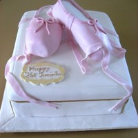 Ballet Shoes 21st cake for a girl who loves ballet. The base was a shoe box made of marble cake and the ballet shoes were made of rice crispies.