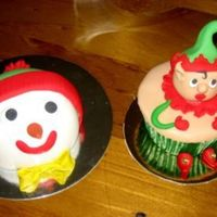 Snowman And Pixie These were a bit of fun for Christmas and have been quite popular. Fruitcake muffin, marshmallow head decorated with fondant