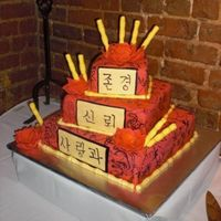 Casey's Cake 14/10/6 offset squares. Red Velvet cake with cream cheese filling. Done in all fondant. Details on cake are hand painted. Gumpaste lotus...