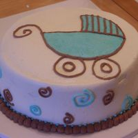 Baby Boy Shower Cake In Blue And Brown