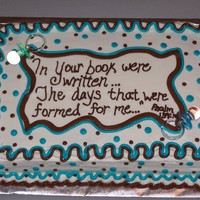 Brown Blue Dots Scripture Baby Shower Cake