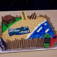 Beach/surfer Theme Birthday Cake  Made this cake for my nephews 2nd birthday...got lots of great ideas from other CCers. Sand is crushed graham crackers, boards, towel, and...