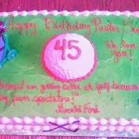 Golf Sheet Cake  the golf ball is half of the ball cake iced the covered with fondant I used the end of a pen to make the dents in the golf ball. It's...