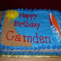 Surfer Cake Icing was buttercream. Surf board is colorflow. Sand is graham cracker crumbs.
