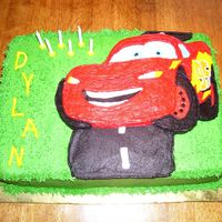 "Lightning Mcqueen This was my first attempt at the ""Frozen Buttercream Transfer Method"". I was very unhappy with it. I had to do a lot of ""..."