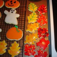 Halloween Cookies   sugar cookies with sugar cookie icing.