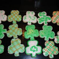 Shamrock Cutouts I did these with royal icing and gel as well on the swirled ones.