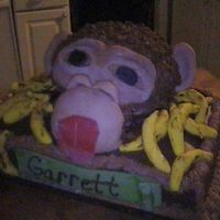 I Am Head Over Hills For Bananas I got the idea from a similar cake on this website. I used a Wilton ball pan for the head and a sheet cake for it to sit on. I used fondant...