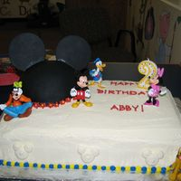 Mickey Mouse Birthday This is a cake I did for a friend's daughters birthday. My friend baked and iced the cake and I did the decorating for her. The mickey...