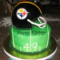 "Steelers Helmet Cake Done for a friend of mine, her husband was turning 49, hence the marking of the ""yard line."" Lemon pound cake for the helmet, 3-6..."