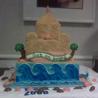 "Hospital Unit Meeting Sandcastle Waves Cake  Two tiers, chocolate/chocolate ganache and butter cake with apricot and hint of orange buttercream came together for this 10-14""..."