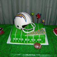 San Diego Chargers Birthday Cake  1/4 sheet cookies and cream cake iced with buttercream and covered with fondant. Airbrush green and BC gridiron lines and numbers, BC grass...