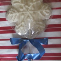 Snowflake Cookie Pops NFSC recipe cut with large snowflake cutter from wilton, copper cutter. Baked with a stick, then covered with melted candy melts or...