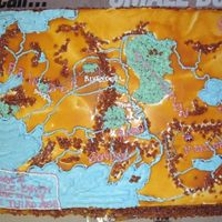 Lord Of The Rings Map Bday cake for a friend that loves Lord of the Rings.. I didnt knew the technique about frozen transfers. Its the closest I could get with...