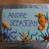 Baby Shower Sea Horse Vanilla cake with MMF and MMF decorations