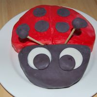 Ladybug Chocolate cake with chocolate buttercream filling. Covered in MMF. Was done for my daughter's 7th month.. (She gets a cake every month...