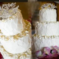 Lemon Crystal Roughly frosted with buttercream and accented with lemon zest curls topped with crystal flowers placed on mirror.