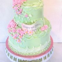Green & Pink Birthday Buttercream frosting and roses. Printed image inscription on gumpaste banner.
