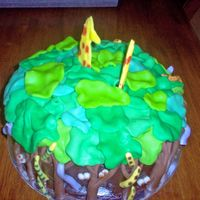 Jungle i got inspiration from a decorating book i saw. this is my favorite cake to make. sad thing is, after the kids see it, the cake doesn'...