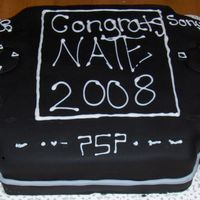 Psp psp cake for my cousins HS graduation. he will be studying video game design in the fall and is obsessed with his PSP. chocolate cake with...